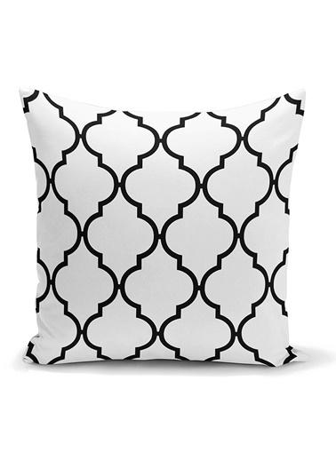 Real Homes Siyah Beyaz Ogea Desenli Dekoratif Yastık Kırlent Kılıfı Renkli